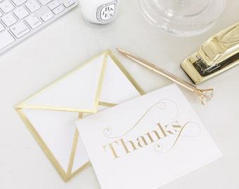 Thanks White Card with Gold Foil Bordered Envelope