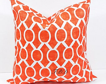 Orange Pillow cover. Burnt Orange and white.Burnt Orange cushion cover.Sham cover. Orange. cushion cover.Pillow case.Choose a size