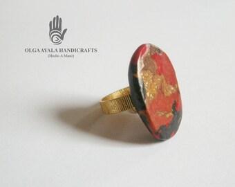 Mokume Gane Clay Ring - Size 9