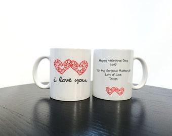 Valentine's Mug Personalised 'I love you' Romantic Valentines Mug, Valentines Gift, Mr Mug, moustache, mug gift, love mug, i love you