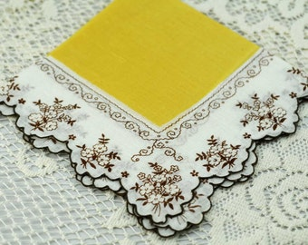 Vintage Hankie,  Beautiful Yellow and Brown #I-19