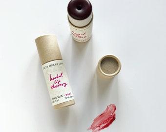 N E W - fuchsia Herbal Lip Therapy - organic botanically deep tinted lip balm with calendula helichrysum rosemary (compostable 0.3 oz tube)