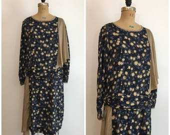 1920s Silk Splatter Dress 20s Flapper Deco Tan Navy Blue Dress