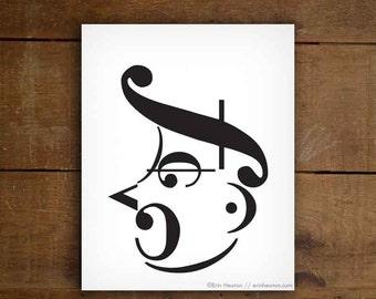 Music gifts / SHOUTING MAN music art print - 5x7, 8x10, 11x14 Fine art print / Black and white art / Music note wall art / Music decor