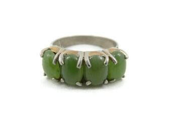 Vintage, Jade Ring, Gold Silver Tone, Size 6