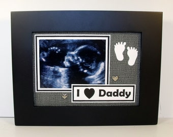 Ultrasound Sonogram Picture Frame 5x7 - I Love (Heart) Daddy or Message You Choose - For 4x3 Sonogram Photo - As shown or color you choose