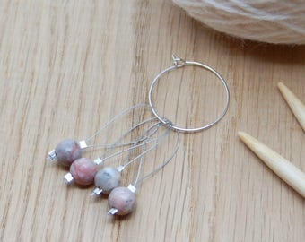 Gemstone stitch markers for knitting, non snag, pack of four gemstone agate beads, knitting gift,