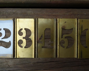 Vintage Brass Number Stencils 3 inch art craft supplies display Rustic aged metal salvage 1 through 0