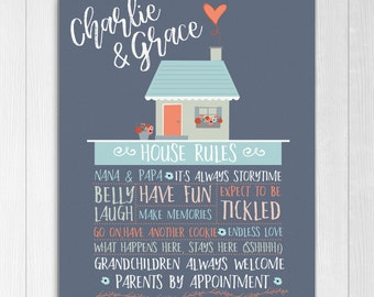 Gift for Grandparents, Printable Personalized House Rules, Christmas Grandparents Print, Printable gift for Grandpa and Granny
