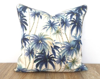 Elegant Blue Palm Leaf Outdoor Pillow Cover Island Beach Decor, Coastal Pillow Case  Palm Tree Print Photo