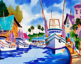 Tarpon Springs Florida, Boat Print, Boat Painting, Tropical Art, Watercolor Print, Ellen Negley, Fishing Boats, 11 x 14, 16 x 20 or 20 x 24.