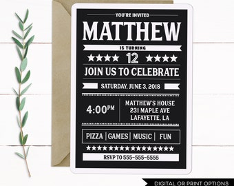 Teen Boy Invitation, Boy Birthday Invitation, Boy Invitations, Teen Invitation, Teen Birthday Invitation, Digital Invitation