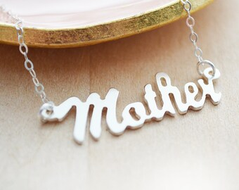 Sterling Silver Mother Necklace - Mother Laser Cut Out Necklace - Unique Name Necklace - Mommy Jewelry - Silver Christmas Gift for Her