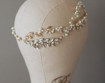 Bridal Headband, Wedding Swarovski Headband, Vintage Hair Accessory, Gold Wedding Headband, Wedding Vine, Wedding Tiara- CRISTY