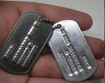 Flash 50% off sale Vintage post WW2 US Navy Dog Tags set