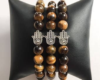 Tiger's Eye Hand of God Protection Bracelet