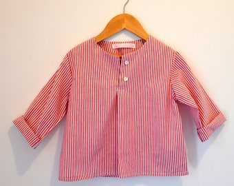 Shirt / blouse for red and white striped boy