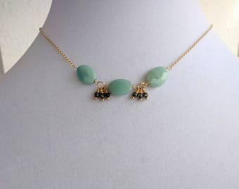 Amazonite and Pyrite Necklace, Valentine's Gift for Her, Dainty Necklace, Everyday Jewelry, Handmade