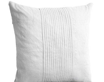 White Silk Ripple Pillow, White Pintuck Pillow, White Textured Cushion, Faux Silk Cushion, Couch Pillow, White Silk Pillow, Birthday Gift