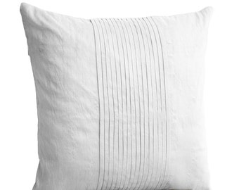 Silk Pillows, White fluffy pillows,  Pintuck pillows, White Textured Cushion, Silk Cushion, Throw Pillow, Couch Pillows, Mother's day gifts.