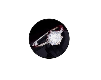Sterling Silver  Faceted  Cubic Zirconia  Ring  ,  Size 8