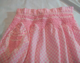 Vintage Apron, Pink and White Apron, Half Apron, Gingham Apron Pin Tucked, Pink Gingham Apron, Apron with Hand Embroidery