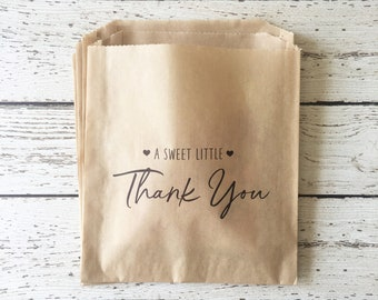 Wedding Favor Bag, Wedding Treat Bag, Cookie Bag, Donut Bag, Thank You Favor Bag, A Sweet Little Thank You Favor Bag, Set of 10, 25, 50