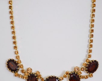 "Necklace vintage 15 1/2"" Adjustable Beautiful Hinged Amber Stones"