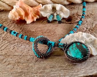 Turquoise pattern lariat set