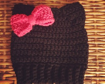 Toddler Size Kitty Cat Hat with Bow, Crochet Toddler Beanie, Cat Hat, Toddler Hat, Hello Kitty Hat