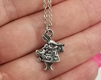 Dainty White Rabbit Necklace, Alice in Wonderland Necklace, White Rabbit Jewelry, Alice in Wonderland Jewelry