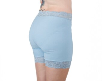 Light Blue Biker Shorts Lace Underwear Shorts Anti Chafing Shorts Cotton Lycra Shorts Slip Shorts Something Blue Bridal Underwear