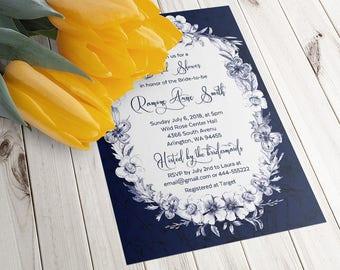 Bridal Shower Invitation, Elegant invitation, Navy shower invitation, Printable Digital file, Bridal Shower Invitation, floral bridal shower