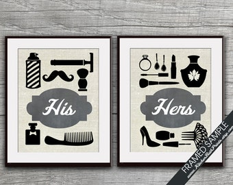 His and Hers Bathroom Prints - Set of 2 - Art Print (Featured in A: Black Board) Customizable Bathroom Prints
