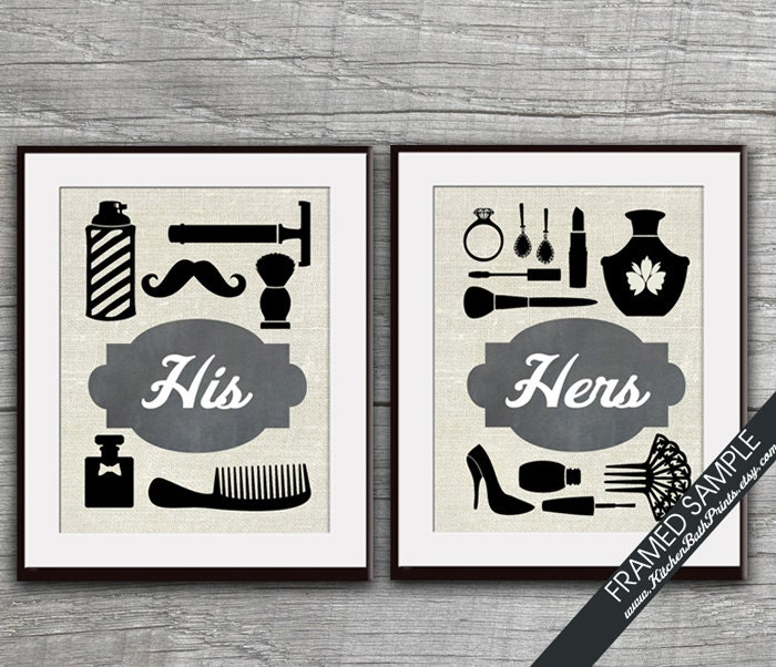 His and Hers Bathroom Prints Set of 2 Art Print Featured