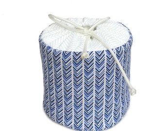 Chevron Pattern in Blues Spare Fabric Toilet Paper Cover Cozy Holder