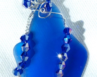 Wire Wrapped Cobalt Blue Sea Glass Necklace
