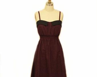 Retro dress Vintage inspired dress Spaghetti straps dress Wine dress/Holiday dress Party dress Collar dress Short dress Gift for her
