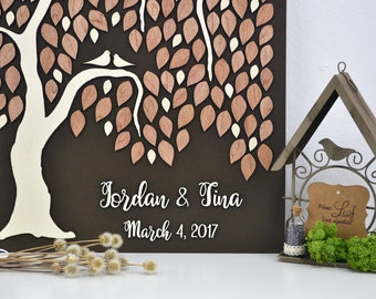 3D Willow Tree Wedding guest book alternative tree Custom unique guest book leaves Rustic wedding Rustic guest book wooden tree Tree of life