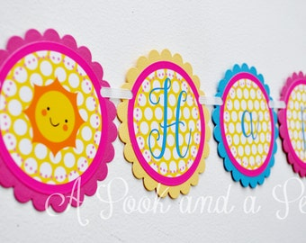 You are my Sunshine Personalized Happy Birthday Banner in Pink, Blue, and Yellow Baby Shower Decoration