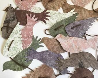 Pretty Bird garland - dove garland - home decor - large birds garland - Retirement Party - Earth tones -