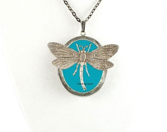 Dragonfly Pill Box Necklace Inlaid in Hand Painted Turquoise Enamel Antique Silver Oval Locket Necklace with Color and Personalized Options