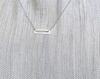 Sterling Silver Open Rectangle Necklace, Simple Minimal Layering, Cable Chain, Geometric, Open Bar Pendant Necklace, Choose Length, Modern