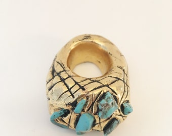 Hand sculpted gold and turquoise statement ring dipped in 14k gold
