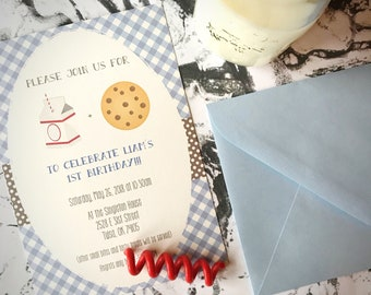Milk and cookies party invitation, gender neutral birthday party, children's birthday party invitation