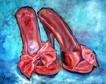 """Original Oil painting on fine jute, Vintage Mules """"Retro Red"""" 32"""" by 41"""" Fine Art SHOE Series> FREE shipping!"""