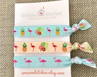 Summer fun flamingo and pineapple design creaseless elastic hair tie/fashion wrist beacelet