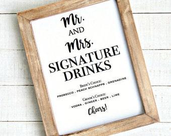 Bride and Groom Drinks - Wedding Printable