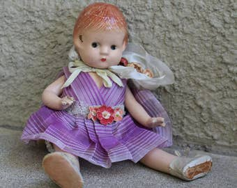 "Vintage Effanbee Patsyette Doll 1930s 40s Distressed Primitive Collectible Antique Nine Inches 9"" Composition"