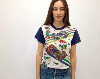 Anime Tee // vintage t shirt t-shirt hipster boho cotton dress hippie hippy white ringer top jersey 80s 1980s // XS/S